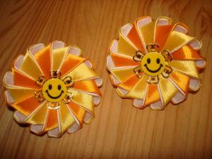 солнышко из лент канзаши желтый цветок канзаши оранжевые канзаши
