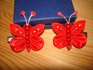 заколки бабочки канзаши